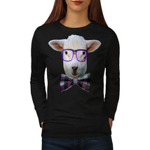 Nerd Sheep Face Animal Tee Sheep Goat Women Long Sleeve T-shirt - $14.99
