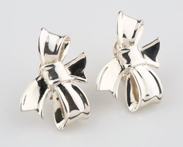 Angela Cummings Silver Bow Ribbon Earrings Sterling 1984 Omega Back Vintage - $579.15