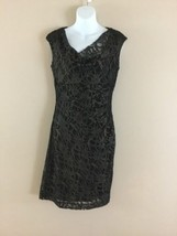New Womens Ralph Lauren Black with Gold Lace Sleeveless Ruched Cocktail ... - $67.63