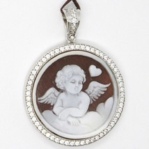925 STERLING SILVER CAMEO CAMEO, ANGEL RECORDED AT HAND, HEART, NUVOLA, ZIRCON image 2