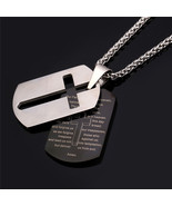 Necklaces stainless Steel Bible Lords Prayer 18K Gold Plated Double Tags - $46.99