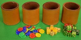 Abercrombie & Fitch c.1950's Boxed Set of 4 English Leather Cups w/ Chip... - $550.00