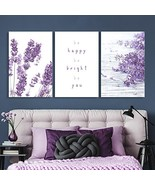 3 Panel Purple Lavender Flowers with Be Happy Be Bright Be You Quotes Ga... - $48.31