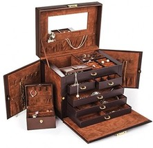 Shining Image Brown LEATHER JEWELRY BOX / CASE / STORAGE / ORGANIZER WIT... - €92,71 EUR