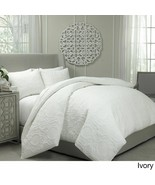 Vue Barcelona Quilted Coverlet and Duvet Ensemble Set  Ivory  Queen  ret... - $68.10