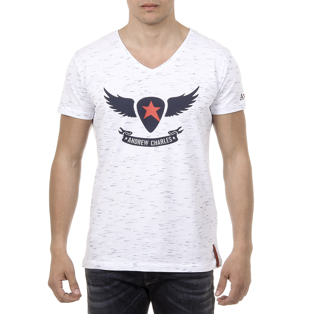 Primary image for Andrew Charles Mens T-Shirt Short Sleeves V-Neck White AARON