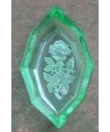 Czechoslovakia Intaglio. Vintage Open Salt Cellar. Green with Rose Image... - $22.00