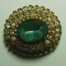 Vintage Signed CORO Gold-tone Tiered Rhinestone W/ Aqua Center Stone Brooch - $75.00