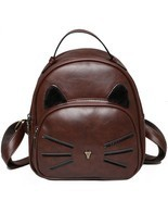 Cat Kitty Backpack Women Bag Teenage Girl School Small Vintage Travel PU... - £22.50 GBP