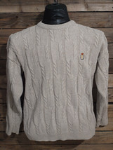 CHAPS by Ralph Lauren Beige Cable Knit Sweater Crewneck  Made in USA Vintage - $8.99