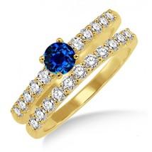 1.5 Carat Sapphire and Simulated Diamond Elegant Bridal Set on 14k Yellow Gold - $99.99