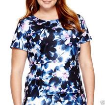 Liz Claiborne Short-Sleeve Scuba Peplum Top Size PL New Msrp $40.00 Orchid - $16.99