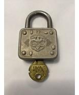 Vintage Master Lock Co. #77 Lion Head Padlock with Original Key - $19.79