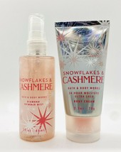 Bath & Body Works SNOWFLAKES & CASHMERE Diamond Shimmer Mist & Body Crea... - $14.85