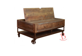 Gabriel Cocktail Table Hardwood Iron Wheel Storage Rustic Lodge Cabin In... - $648.45