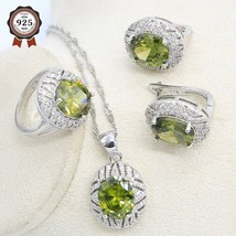 2020 Olive Zicon  Silver Color Jewelry Set for Women Hoop Earrings Necklace Pend - $28.40