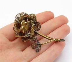 925 Sterling Silver - Vintage Gold Plated Filigree Flower Brooch Pin - B... - $37.31