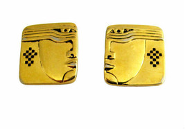 Vintage Laurel Burch Gold Tone Face Earrings - $26.00