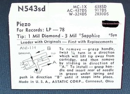 RECORD PLAYER NEEDLE Stylus 618-DS73 for Piezo SJN-1 P-3 7 Astatic N543-sd image 2