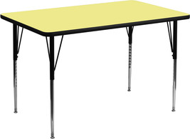 "Offex 24""Wx48""L Rectangular Yellow Laminate Activity Table / Height Adjustable  - $122.19"