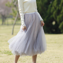 Gray Layered Tulle Skirt Outfit High Waisted Midi Tulle Skirt Party Tulle Skirt image 2