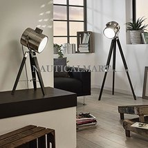 Decorative Search Light Tripod floor lamp / Wood & Chrome / Black SET OF 2 - $276.21