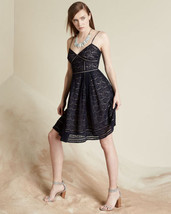 """JOIE NWT $318 SLEEVELESS NAVY """"SOLANDRA"""" LACE FIT & FLARE DRESS - 0 - $117.81"""