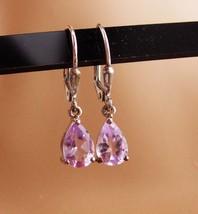 Teardrop amethyst / Vintage sterling earrings / pierced drop set / silver dangle - $70.00