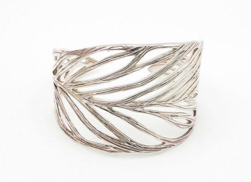 VEVA 925 Sterling Silver - Vintage Open Leaf Designed Wide Cuff Bracelet - B6316 image 2