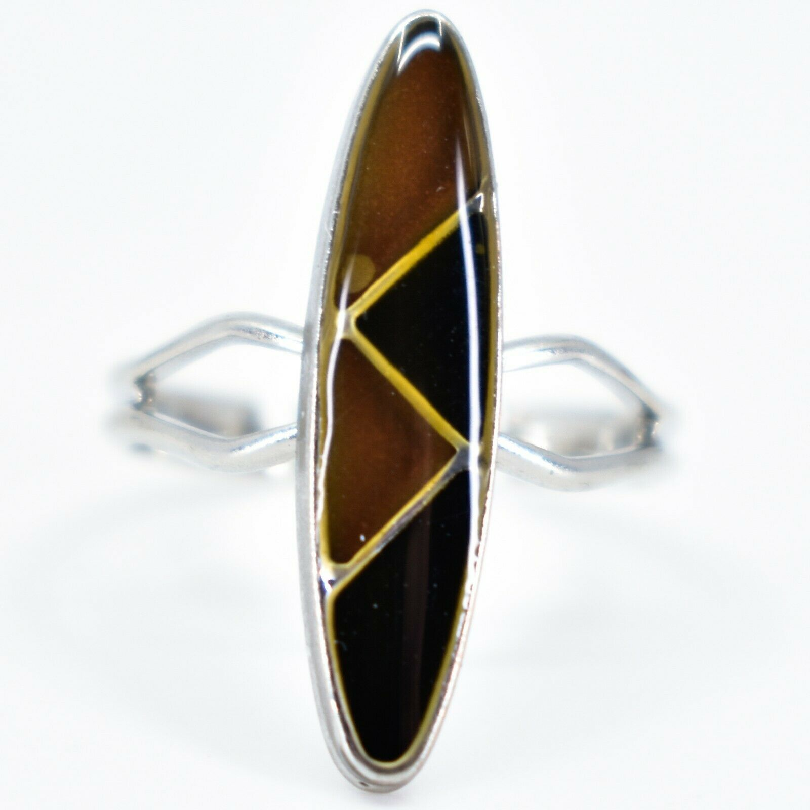 Silver Tone Surf Oval & Triangle Multi-Color Changing Adjustable Mood Ring