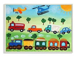 The Kids Room by Stupell Planes, Trains, and Automobiles Rectangle Wall ... - $37.37