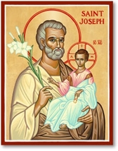 """St. Joseph Icon 11"""" x 14"""" Wooden Plaques With Lumina Gold"""