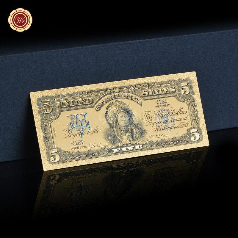 Full Set of $1 $2 $5 $10 $20 $50 /& $100 Dollar Banknote Gold Plastic Paper Money