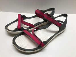Crocs Pink Womens Size 11W Swiftwater Webbing Sandals Iconic Comfort - $32.62