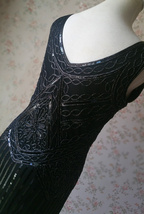 BLACK Retro Style Sleeveless Beaded Sequin Dress Tassel Short Evening Dress NWT image 2