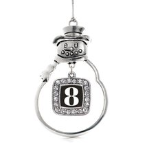 Inspired Silver Number 8 Classic Snowman Holiday Decoration Christmas Tr... - $14.69