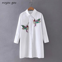 New arrival 2018 Women Bird Embroidered Blouse Shirts fashion Long sleeve high q image 1