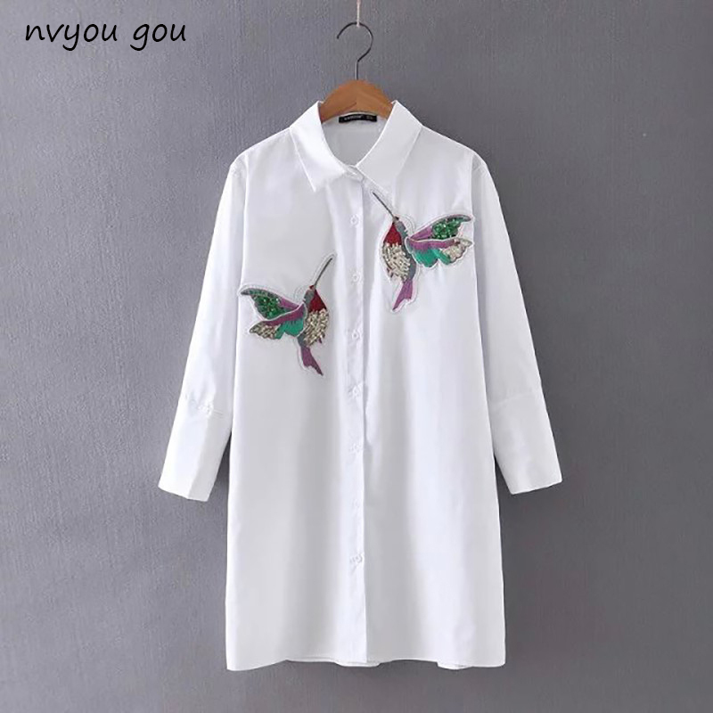 New arrival 2018 Women Bird Embroidered Blouse Shirts fashion Long sleeve high q