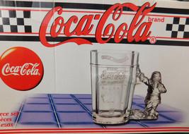 Glass Coca Cola Christmas Mug 1997 Edition Santa Handle Coke Machine Design Set  - $16.77