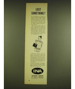 1962 INA Insurance Company of North America Ad - Lost something? - $14.99