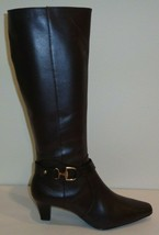 Anne Klein Size 6.5 GAUGE Brown Leather Knee High Heeled Boots New Womens Shoes - $137.61