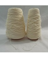 Lot of 2 Cones of Unbranded Vintage Off White and Natural Colored Yarn - $26.42