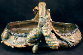 Signed Amphora Pottery Pinecone Basket Probably Paul Daschel Design - $299.00