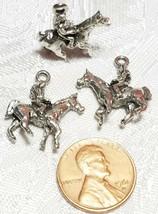 WOMAN RIDING HORSE FINE PEWTER PENDANT CHARM - 19mm L x 22mm W x 6mm D image 2