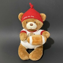 "Baby Gund Little All Pro Teddy Bear Plush Rattle 9"" Sitting Football Red... - $11.30"
