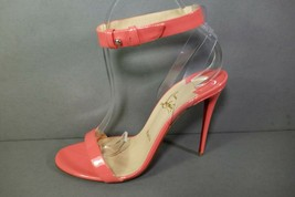 LOUBOUTIN 39 JONATINA 100 Patent Charlotte Coral PVC Ankle Strap Sandals... - $558.09