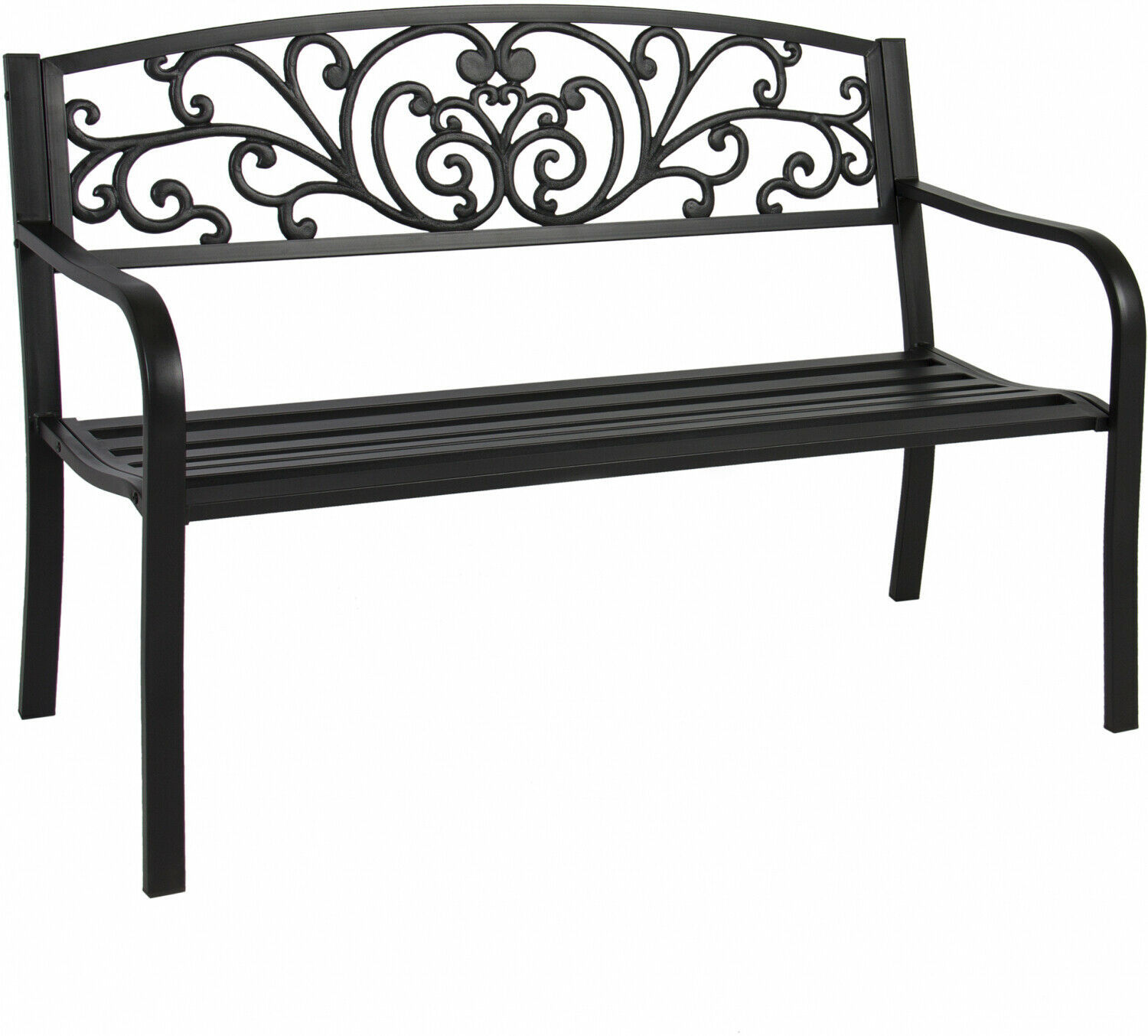 Outdoor Park Bench Porch Chair Yard Furniture Slatted Seat Garden Patio Black