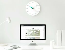 Moro Design 3 Color Hands Wall Clock non Ticking Silent Clock (Classic Mint) image 5