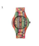 Unique Colorful Men Bamboo Watches Lovers Handmade Natural Wooden Bracel... - $23.50+