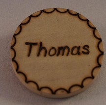 Vintage Handmade Thomas Wood Pin Pinback Button Badge - $1.97